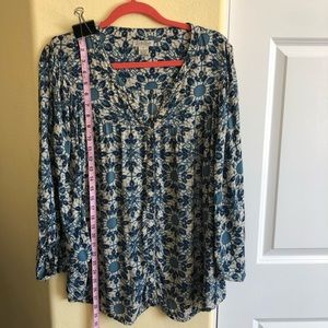 Lucky Brand XL Funky Floral Button Down Tunic